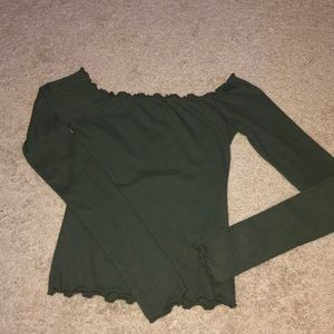 army green off the shoulder shirt